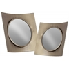 Metal Wall Mirror with Concave Square Wood Frame Set of Two Rustic Finish Silver