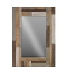 Wood Square Mirror with Parquet Design Frame Natural Wood Finish Beige