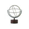 Metal Orb Dyson Sphere Design on Base LG Distressed Finish Light Blue