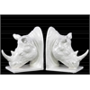 Ceramic Rhino Head Bookend Assortment of Two Gloss Finish White