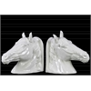 Ceramic Horse Head Bookend Assortment of Two Gloss Finish White