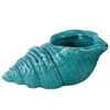 Ceramic Conch Seashell Figurine Gloss Finish Blue