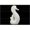 Ceramic Seahorse Figurine Distressed Gloss Finish White