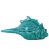 Ceramic Conch Seashell Figurine Distressed Gloss Finish Blue