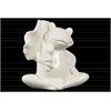 Ceramic Sitting Frog Figurine with a Leaf on Hand Gloss Finish White