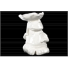 Ceramic Sitting Frog Figurine with a Leaf Carried Over Head Gloss Finish White