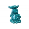Ceramic Sitting Frog Figurine with a Leaf Carried Over Head Gloss Finish Blue