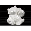 Ceramic Sitting Frog Figurine with a Bag on Shoulder Gloss Finish White