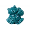 Ceramic Sitting Frog Figurine with a Bag on Shoulder Gloss Finish Blue