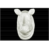 Ceramic Rhino Head Wall Decor Gloss Finish White
