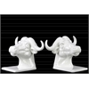 Ceramic Cape Buffalo Head Bookend Assortment of Two Gloss Finish White