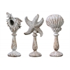Polyresin Aquatic Figurines on Stand Assortment of Three (Conch, Starfish, Clam) Washed Finish Rust Brown
