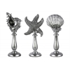 Polyresin Aquatic Figurines on Stand Assortment of Three (Conch, Starfish, Clam) Painted Finish Silver