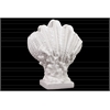 Ceramic Giant Clam Seashell Sculpture on Coral Pedestal Gloss FInish White