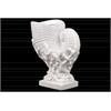 Ceramic Nautilus Seashell Sculpture on Coral Pedestal Gloss FInish White