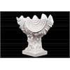 Ceramic Giant Clam Seashell Valve Sculpture on Coral Pedestal Gloss FInish White