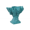 Ceramic Giant Clam Seashell Valve Sculpture on Coral Pedestal Gloss FInish Cyan