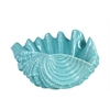 Ceramic Giant Clam Seashell Valve Sculpture Gloss Finish Cyan
