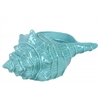 Ceramic Conch Seashell Sculpture Gloss Finish Cyan