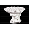 Ceramic Giant Clam Seashell Sculpture Platter on Marine Life Pedestal Gloss FInish White