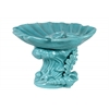 Ceramic Giant Clam Seashell Sculpture Platter on Marine Life Pedestal Gloss FInish Cyan