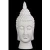 Ceramic Buddha Head with Pointed Ushnisha and Elongated Face Gloss Finish White