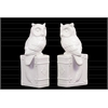 Ceramic Owl on Book Base Bookend Assortment of Two Gloss Finish White