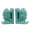 Ceramic Buddha Head with Rounded Ushnisha Bookend Assortment of Two Gloss Finish Turquoise