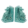 Ceramic Sea Horse on Corals Bookend on Base Set of Two Gloss Finish Turquoise
