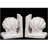 Ceramic Giant Clam Seashell Bookend on Base Gloss Finish White