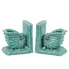 Ceramic Nautilus Seashell Bookend on Base Gloss Finish Turquoise