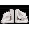 Ceramic Conch Seashell Bookend on Base Gloss Finish White