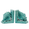 Ceramic Conch Seashell Bookend on Base Assortment of Two Gloss Finish Turquoise