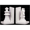 Ceramic Chess Piece with Knight and Rook Bookend Assortment of Two Gloss Finish White