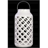 Ceramic Round Lantern with Metal Handle and Diagonal Cutout Design Gloss Finish White