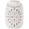 Ceramic Round Lantern with Metal Handle and Cutout Design Gloss Finish White
