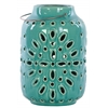 Ceramic Round Lantern with Metal Handle and Cutout Design Gloss Finish Turquoise