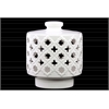 Ceramic Round Lantern with Cutout Quatrefoil and Star Design and Lid Gloss Finish White