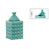 Ceramic Square 110 oz. Canister with Embossed Ring Pattern and Step Lid SM Gloss Finish Turquoise