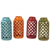 Ceramic Antique Lantern with Diagonal Cutout Design Metal Handle Assortment of Four Matte Finish Assorted Color (Olive, Orange, Cyan and Red)