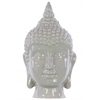 Ceramic Buddha Head with Pointed Ushnisha Gloss Finish Light Brown