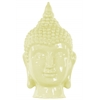 Ceramic Buddha Head with Pointed Ushnisha Gloss Finish Lemon Yellow
