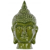 Ceramic Buddha Head with Pointed Ushnisha Gloss Finish Olive Green