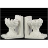Ceramic Open Valve Clam Seashell on Base Bookend Assortment of Two Gloss Finish White