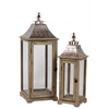 Wood Square Lantern with Metal Top and Ring Hanger Set of Two Natural Wood Finish Brown