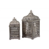 Wood Square Lantern with Pierced Metal Top Set of Two Weathered Wood Finish Brown