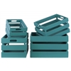 Wood Rectangular Nesting Crate with Cutout Handles Set of Four Distressed Coated Finish Blue