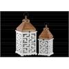 Wood Square Lantern with Lattice Design Body Set of Two Coated Finish White