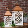 Wood Square Lantern with Lattice Design Body and Pierced Metal Top Set of Two Coated Finish White