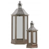 Wood Hexagonal Lantern with Pierced Metal Top, Metal Ring Handle and Glass Sides Set of Two Natural Wood Finish Sienna Brown